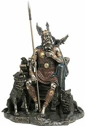 10.25 Odin Sitting With Wolves And Crows Norse God Statue Deity Viking Decor