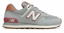 New Balance Women's 574 Shoes Grey With Red