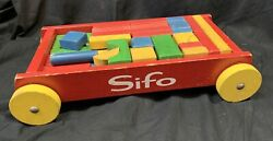 Vintage Sifo Red Wagon Wood Wooden Rainbow Shape Building Blocks Pull Toy C1960s
