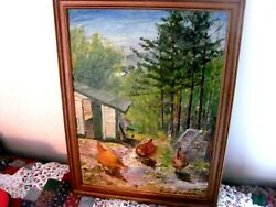 Vintage Oil Painting Three Chickens In The Farmyard