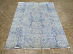 8'1 X 10'2 Hand Knotted Ivory Modern Oriental Rug With Silk G9478