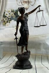 32and039and039 Tall Lady Blind Justice Justica Bronze Sculpture Lawyer Statue Figurine Art