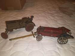Vintage Antique 1930and039s Arcade Mccormick Deering Tractor And Manure Spreader