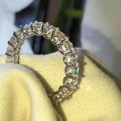 2 Ct Real Round Cut Diamond Eternity Band Fine 14k White Gold Ring Size 6 7 8 9