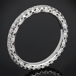 Fine 14k White Gold Ring For Christmas Gift 1 Ct Real Diamond Eternity Band 6 7