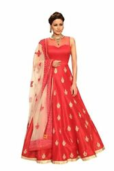 Womenand039s Anarkali Banglory Silk Embroidery Semi-stitched Gown For Party And Wedding