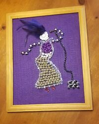 Handcrafted Costume Jewelry Framed Wall Art Female Jazz/blues Singer