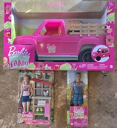 New Barbie Sweet Orchard Farm Truck Ken And Chicken Barbie Doll Set