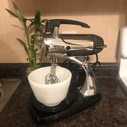 Vintage Crome Sunbeam Mixmaster Stand Mixer W/small White Bowl Works Great