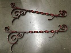 Pair Salvage Wrought Iron Sign Brackets - 37 Wall Mount Entry Door Porch Decor