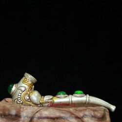 Old Antique Chinese Silver Gilt Inlay Jade Hand-carved Dragon Head Smoking Tools