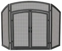 3 Fold Black Wrought Iron Arch Top Screen With Doors - 32 X 52