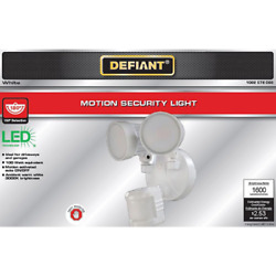 Defiant 180anddeg White Motion Activated Outdoor Integrated Led Twin Head Flood Light