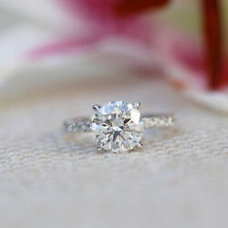 Solid 14k White Gold Solitaire Ring Real 0.95 Ct Diamond Engagement Band 6 7 8 9