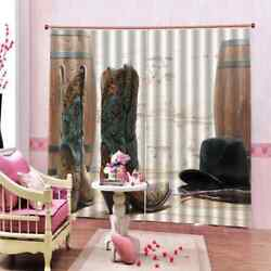 Embroidered Shoes And Hats 3d Blockout Curtains Fabric Window Home Decor