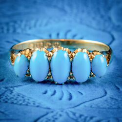 Antique Edwardian Turquoise Ring 18ct Gold Dated 1913