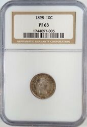 1898 10c Proof Barber Dime Ngc 90 Silver Collectible Numismatic Coin