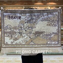 Yilong 2and039x1.5and039 Handmade Silk Tapestry Art Collection Antique Carpet Mc008h