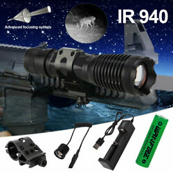 Ir 940nm Infrared Night Vision 10w Flashlight Tactical Zoom Torch Offset Mount