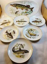 7 Pc Vintage Fish Tray And Plates Cheese Snack Bread Naaman Israel 1950's Nice