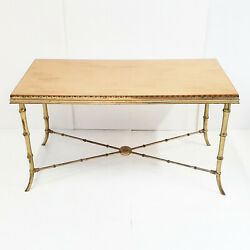 Coffee Table Faux Bamboo Home Jansen 1970 Vintage Brass Golden And Wood 70s