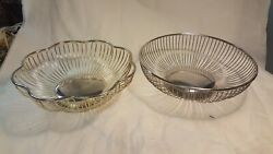 2 Vintage Silver Plated Wire Baskets Royal Silver And Raimond Silverplate Italy