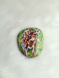 Hand Painted Lovely Deer Flowers On Natural Rock Stone Art Gift Deco Paperweight