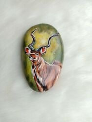 Hand Painted Lovely The Antelope On Natural Rock Stone Art Gift Deco Paperweight