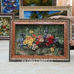 Yilong 2.3and039x1.5and039 Handwoven Wool Silk Tapestry Wall Hanging Floral Home Rug Gt008