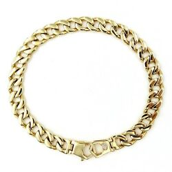See Video Estate 8mm Wide Curb Chain Link Bracelet 14k Yellow Gold Length 8.5