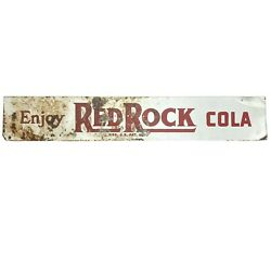 """Vintage Antique Red Rock Cola Pop Soda Sign 21"""" X 3.5"""" Rustic Weathered Patina"""