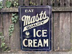 Masts Quality Ice Cream Sign Antique Dairy Creamery Advertising Vintage Parlor