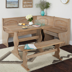 Corner Booth Bench Breakfast Nook Dining Set 3 Pc Rustic Wooden Kitchen Table