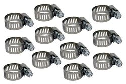Heavy Duty Gear Drive Hose Clamps For 5/8 Heater Hose 9/16-1-1/16 Pkg Of 12
