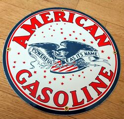 American Gas Oil Gasoline Porcelain Advertising Sign...12 Inch