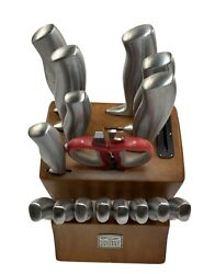 Chicago Cutlery Knife Block With 16 Piece Knives Set Stainless Steel 17 Slots