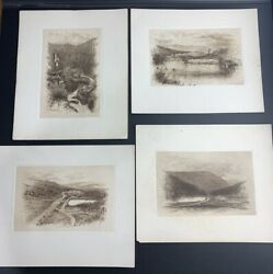Lot Of 4 Robinson Engravings Fabian House Silver Cascade Crawford House