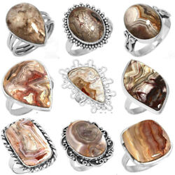 Natural Crazy Lace Agate Gemstone 925 Sterling Silver Plated Rings 137