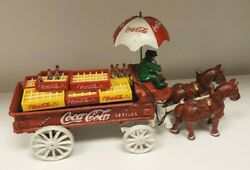 Vintage Cast Iron Toy - Horse Drawn Coca Cola Wagon With Driver Ships Free
