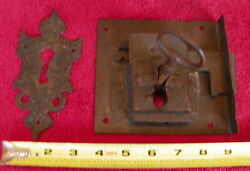 Antique Hand Wrought Iron Chest Trunk Furniture Gate Lock Hand Forged Hardware