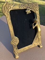 Lot Of 2 Vintage Art Nouveau Solid Brass Woman And Flowers Vanity Picture Frames