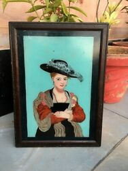 Collectible Old Wooden Hand Crafted Women Print Wall Painting Glass Frame