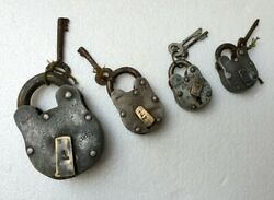Antique Old Iron Lot Of 4 Lock With Key Good Working Condition Lock