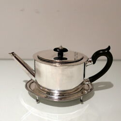 Antique George Iii Sterling Silver Teapot On Stand Newcastle 1784/86 Langlands