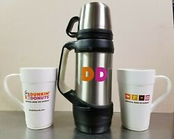 Dunkin Donuts 32oz Stainless Steel Hot/cold Insulated Thermos And 2 16oz Mugs