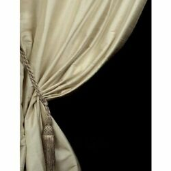 Ihf Silk Dupioni Solid Textured Lined Grommet Pleated Panel Curtain Drapes Beige