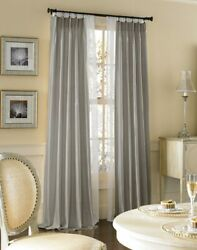 Ihf Silk Dupioni Solid Textured Lined Grommet Pleated Panel Curtain Drapes Grey