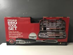 Premium 15-piece Bbq Tool Set With Digital Temp Fork And Case