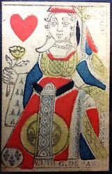 1760 Rare Hand Painted 18th Century Parisian Queen Playing Card France Historic