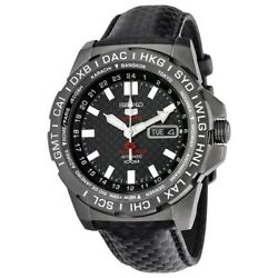 Seiko 5 Sports Srp723k1 Automatic Limited Edition Watch Black Leather 4r36-04a0